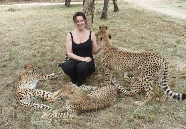 Poala with the cheetah cubs