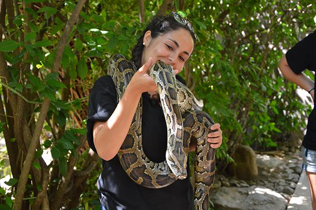 Felisa at the Khamai Reptile Centre