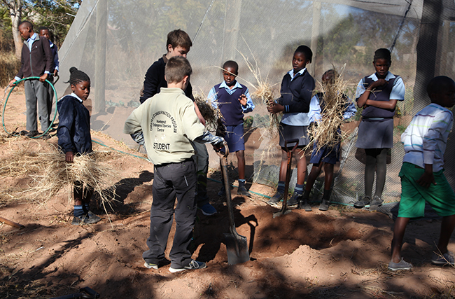 Paul Laurier and Patrick Murray help the children at Paulos Ngobeni School to plant trees